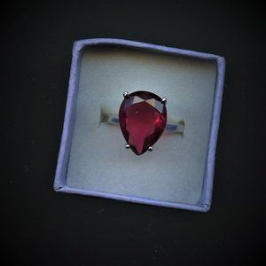 Ring Ruby,Pear Shape, 12x15mm, Size 6.5